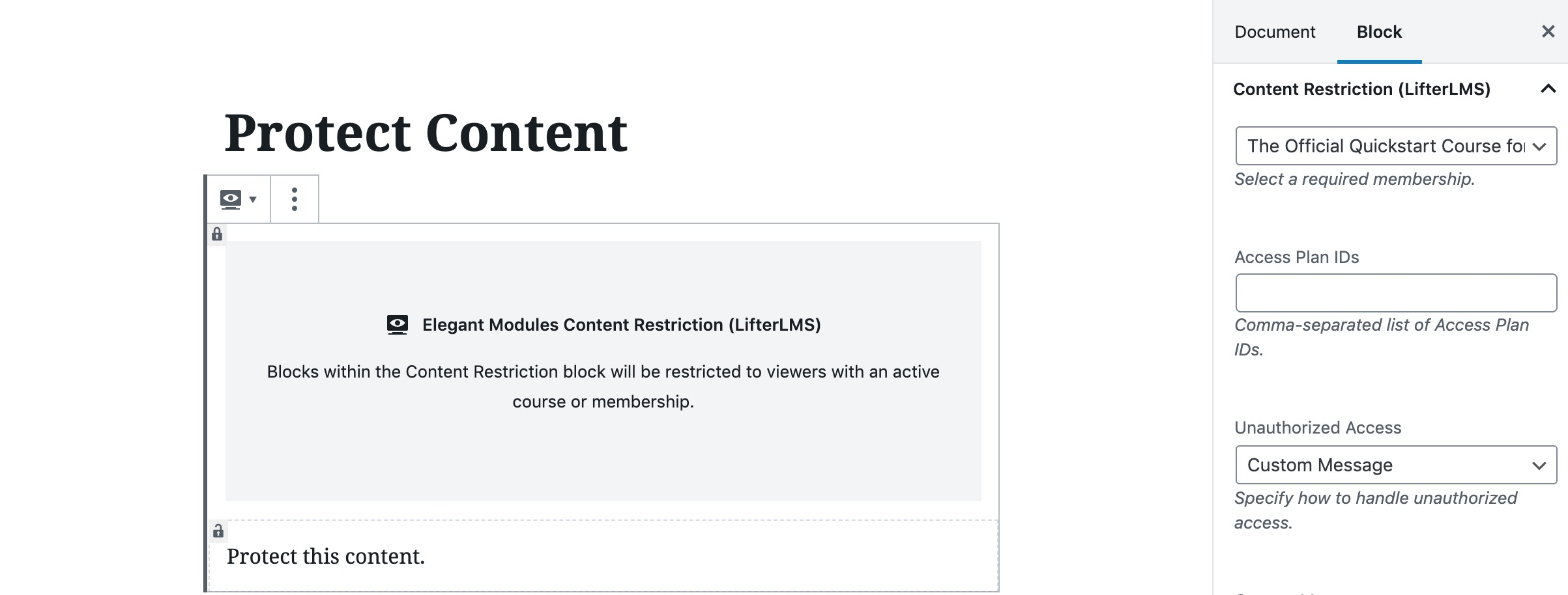 LifterLMS content protection for Gutenberg