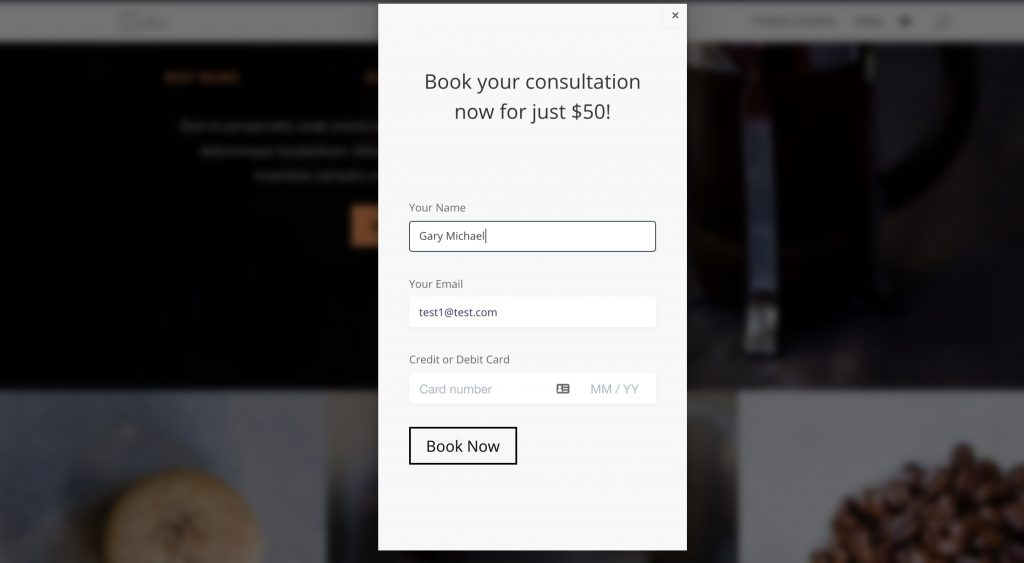 Divi Payment Form Modal Popup