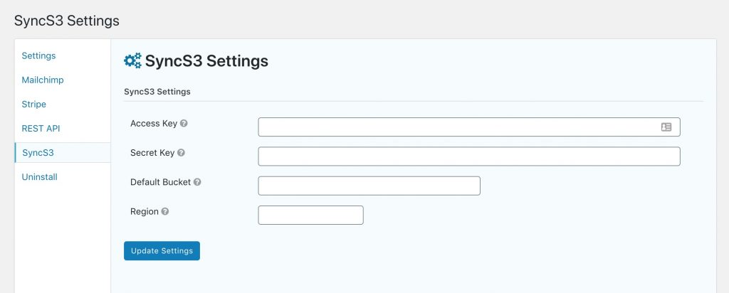 SyncS3 global settings